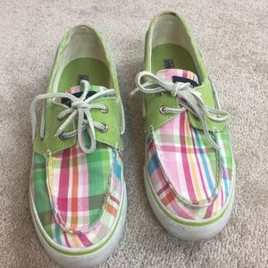Sperry Topsider canvas plaid boat shoes- 7.5